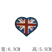 UK flag heart shape sequin embroidery patch sew on the clothing