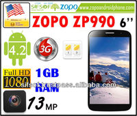 "ZOPO ZP990 6.0"" FHD Huge Screen 3G Quad Cores Smartphone MTK6589T 1.5GHz 2GB+32GB Android 4.2 13MP OTA OTG WiFi Cell Phone"