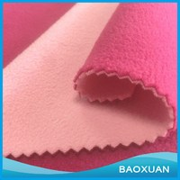 100%Polyester 100D144F light pink and rose red micro polar fleece fabric bonded fabric for rug