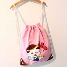 Eco friendly customized wholesale color printed cotton tote bag cotton drawstring bag