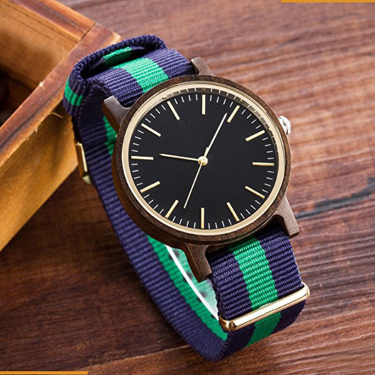 hot 100% natural wood watch 2017, factory wholesale wood watch with your logo,bamboo wood watch with nylon strap