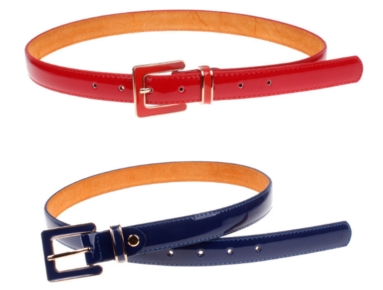 Enamel Buckles Smart Super Skinny PU Belt Women