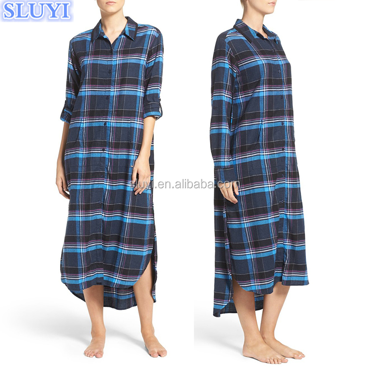 plus size long dresses sleepwear long sleeve sleepshirt 100% cotton flannel plaid maxi pajamas long nightgowns for fat women