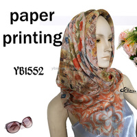 2016 European fashion paper printing digital printing polyester scarf factory hot sell Malaysia hijab