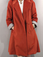 Outerwear Coats fashion women clothing latest new design Orange Shawl Collar Covered Button Coat