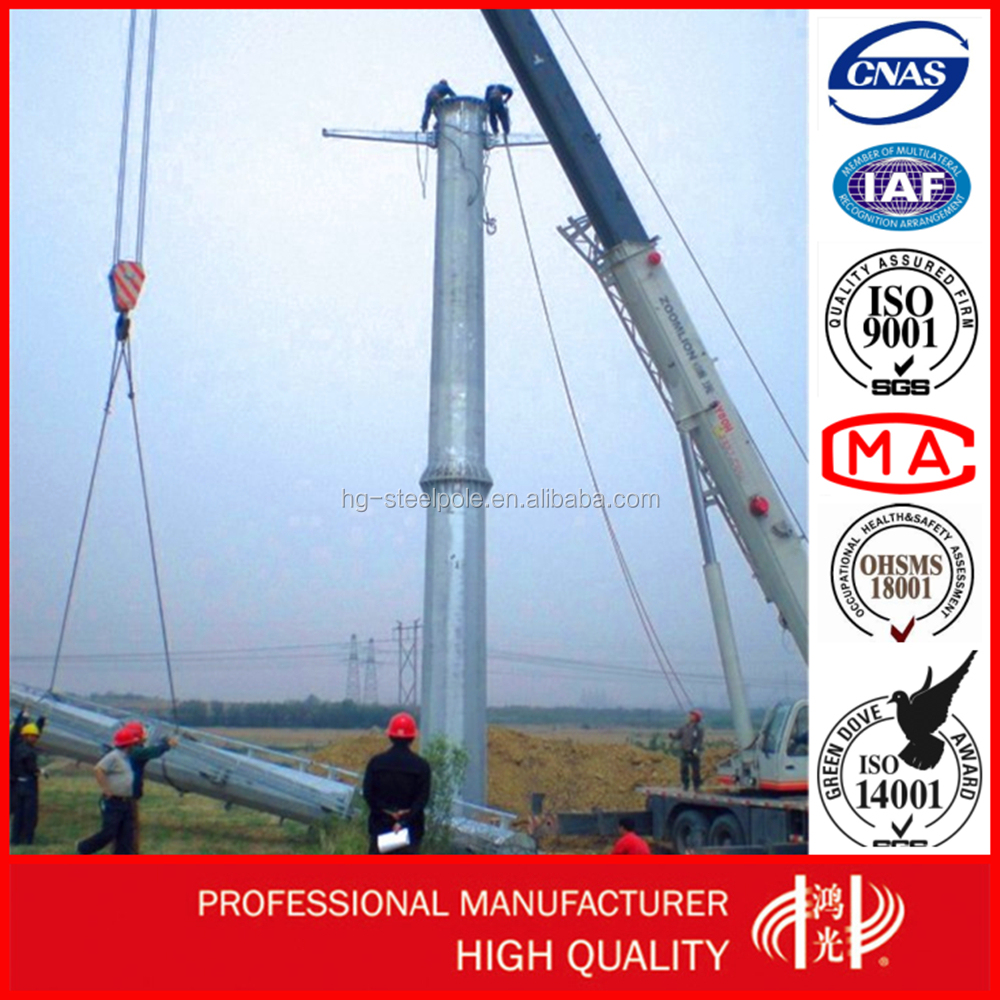 35KV Flange Connection Steel Pole For Electric Power Distribution Line Overhead Line Project