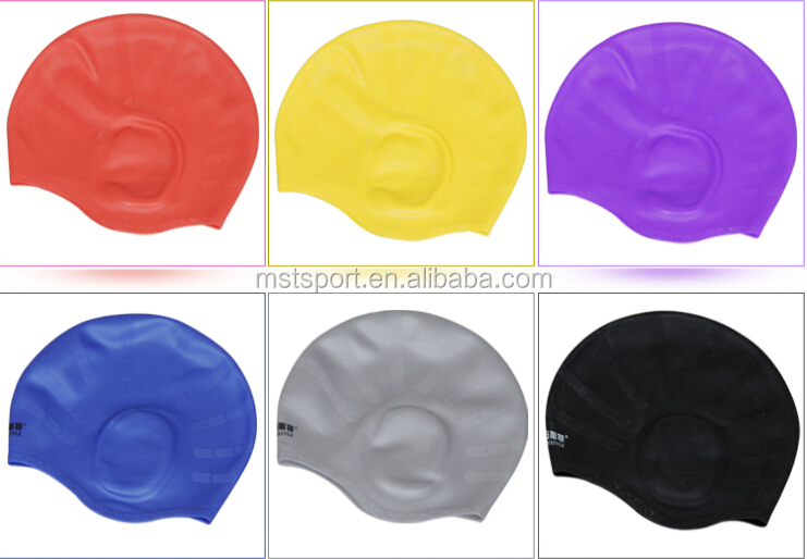 silicone long hair swim cap/ear protection swimming cap