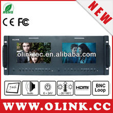 "19"" inch rackmount HDMI, AV, YPbPr, BNC LCD monitor, double screen"