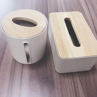 Promotion Cheap Plastic Nordic Style White Rectangular Napkin Tissue Box with Bamboo Lid