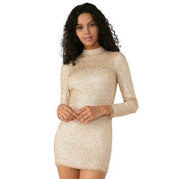 Wholesale Gold Outdoor Tight Short Night Sexy Party Dresses
