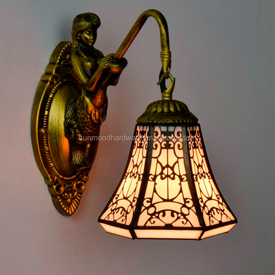 Wholesale Arabian Halal Style Creative Glass Copper Mesh Wall Lamp European Tiffany Aisle Ventilation Terrace Lights