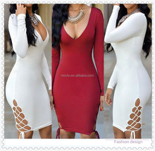 Autumn winter high neck bandage long sleeve clubwear sexy women dress