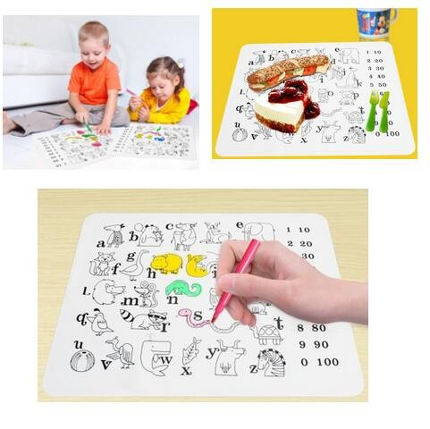 Kid's coloring portable skid pad practice silicone pad repeatedly painted painting graffiti washable placemat