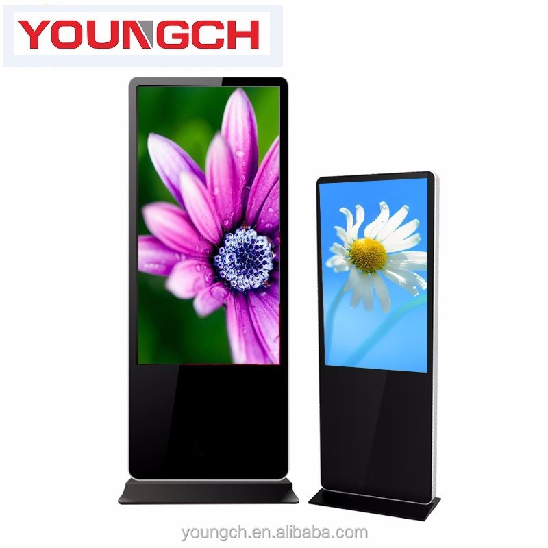 Floor free stand standalone 46 inch touch totem ad player interactive screen for info wayfinding map showing in lobbies of malls