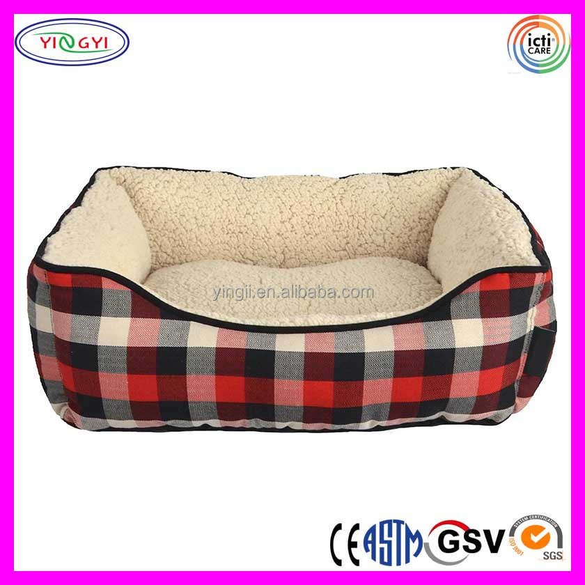 B777 Buffalo Plaid Rectangle Pet Dog Beds Plush Comfy Cozy Craft Pet Beds