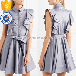 Hot Sale Blue Ruffled Sleeveless Cotton Mini Summer Dress With Tie Bow OEM/ODM Women Apparel Clothing Garment Wholesaler