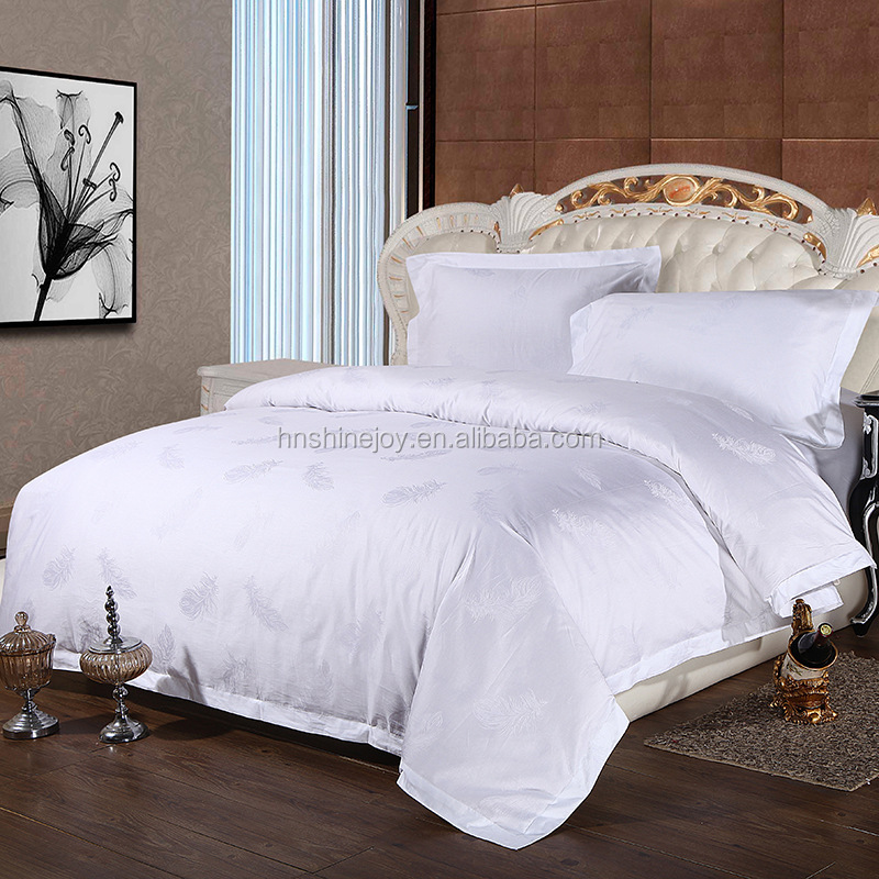 comfortable 100% cotton feather jacquard twill hotel bedl inen fabric
