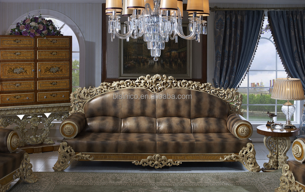 Bisini Luxury Sofa Furniture Dubai Luxury Genuine Leather Sofa Furniture Solid Wood Mansion