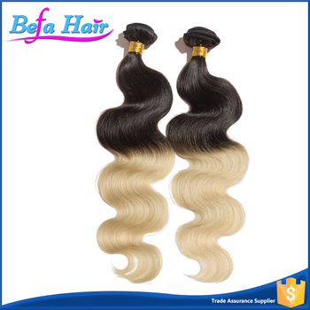 Hot sell natural human brazilian body wave two tone ombre colored hair weave bundles