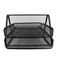 2 layer mesh metal black & silver stacking file tray document letter tray mesh metal stationaryfor office