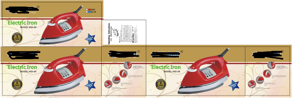 National Electric Iron ~ Hot sales type of electric iron with different color box