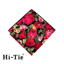 Hi-Tie SP 0141 Floral Red Pocket Square Designer , Handkerchief Hanky