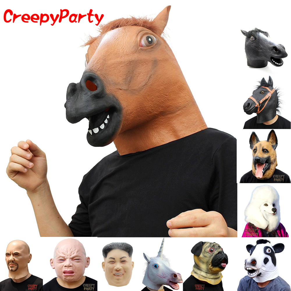 Horse Head Mask - Realistic Latex Animal Halloween Mask - Funny Carnival Party Costume CreepyParty