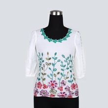 Top selling products white lace Breathable hollow embroidery shirt