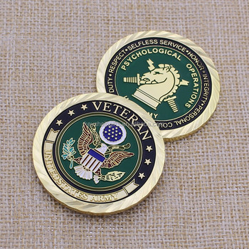 3D Die Casting Zinc Alloy Gold Military Challenge Coins