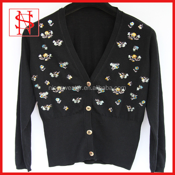 long sleeves high rib hem sequin design pattern ladies knitted sweater with sequin
