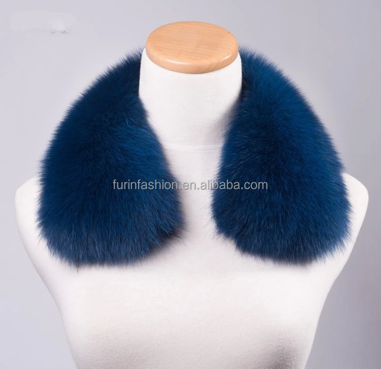 Real Fox Fur Collar for Winter Coat/Detachable Fur Trim for Hood/Dyed Blue Color