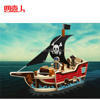 Children Wooden DIY Disassembling Sea Rover 3D Puzzle