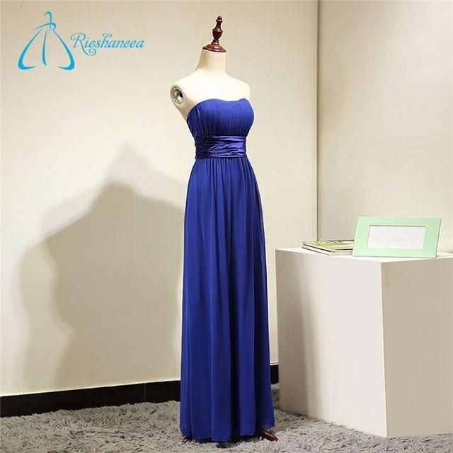 Floor-Length Strapless Chiffon Pleat Royal Blue Bridesmaid Dresses