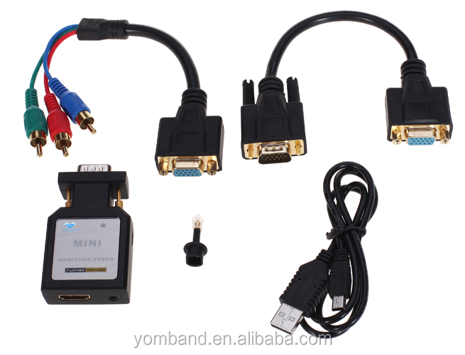 small size, Mini HDMI to VGA +YPBPR Converter