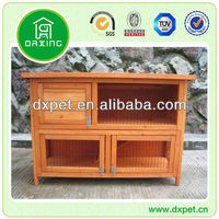 Waterproof 2 story wooden rabbit hutch with ramp DXR016