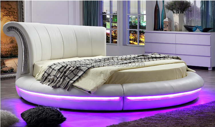 bisini white leather led round bed luxury led round bed. Black Bedroom Furniture Sets. Home Design Ideas