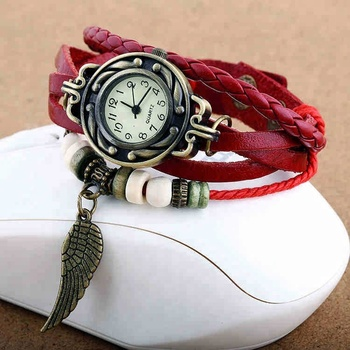 Korean Vintage Style Retro Red Braided Leather Wrist Watch For Women Birthday Gifts