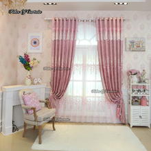 Tales of curtain romantic pink with split joint and relif leaf design thick chenille fabric curtain design