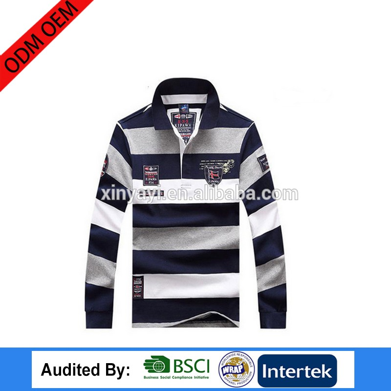cheap cotton polo long sleeve clothes with priting customer logo