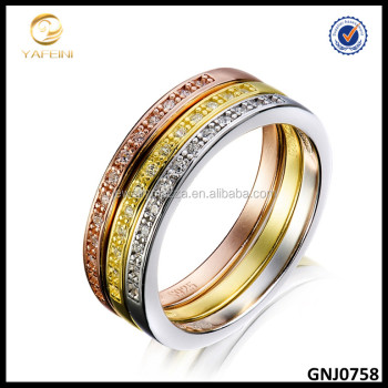 Top Selling Tri Color 925 Sterling Silver Ring 3pcs Stackable Ring Set With AAA Cubic Zircon