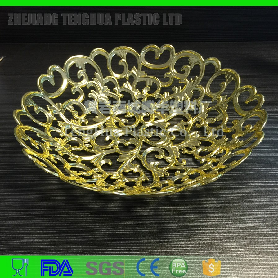 hollow ou fruit plate with gold plating decorative plastic tray