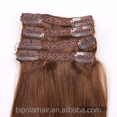 No Shed No Tangle Unprocessed Virgin Human Hair Cuticle Remy Clip Mongolian Hair Extensions Double Weft