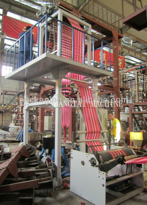 PE two color stripped film blowing machine
