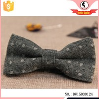 White Dots Print Twill Cotton Bow Tie
