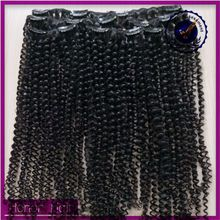 Best selling new products 100% human hair wet and wavy mongolian kinky curly clip in hair extensions