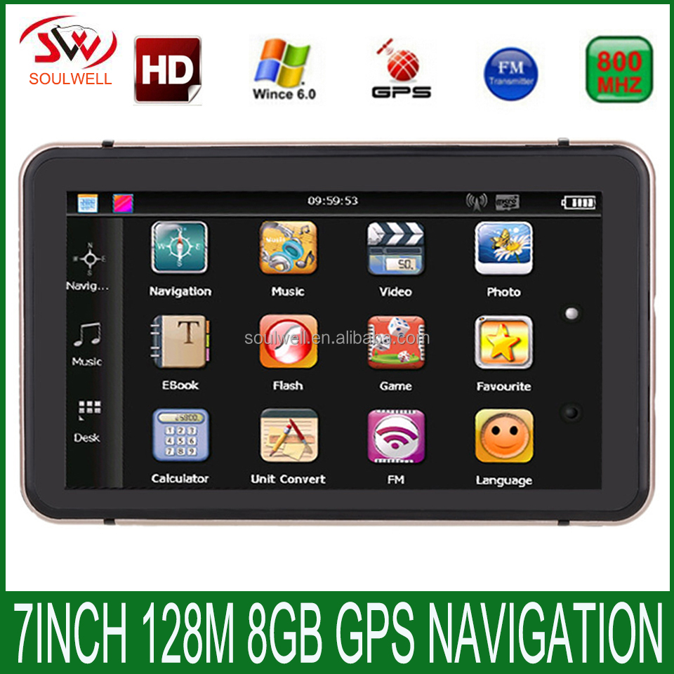 Hot Selling 7 Inch Touch screen 800*480 DDR 128M 8GB GPS Navigation Map Free Upgrade Spain/ Europe/USA+Canada/Israel Truck gps