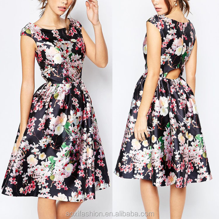 2016 Wholesale Fitted Waist Keyhole Back Allover Floral Midi Prom Dress for Women