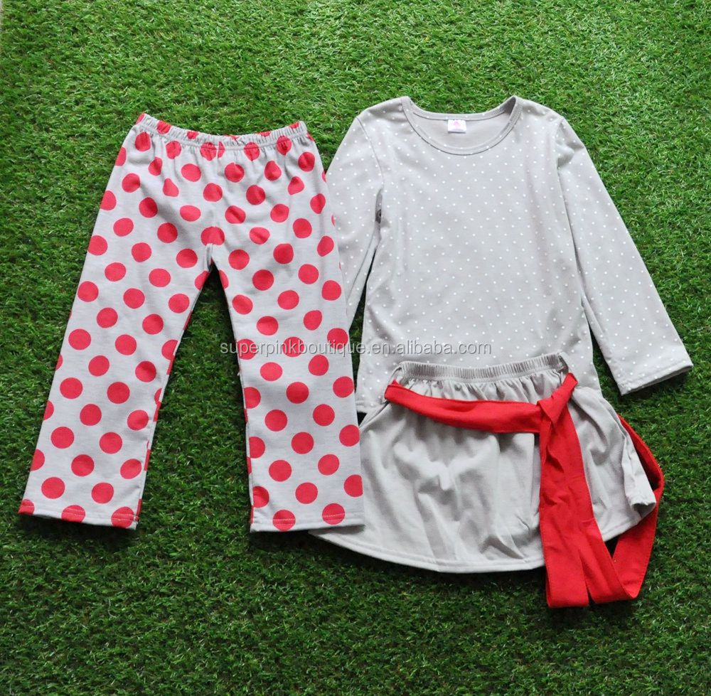 Cheap young girls boutique 3pcs fall baby polka dot outfit long sleeve+pants+skirts kids clothing sets
