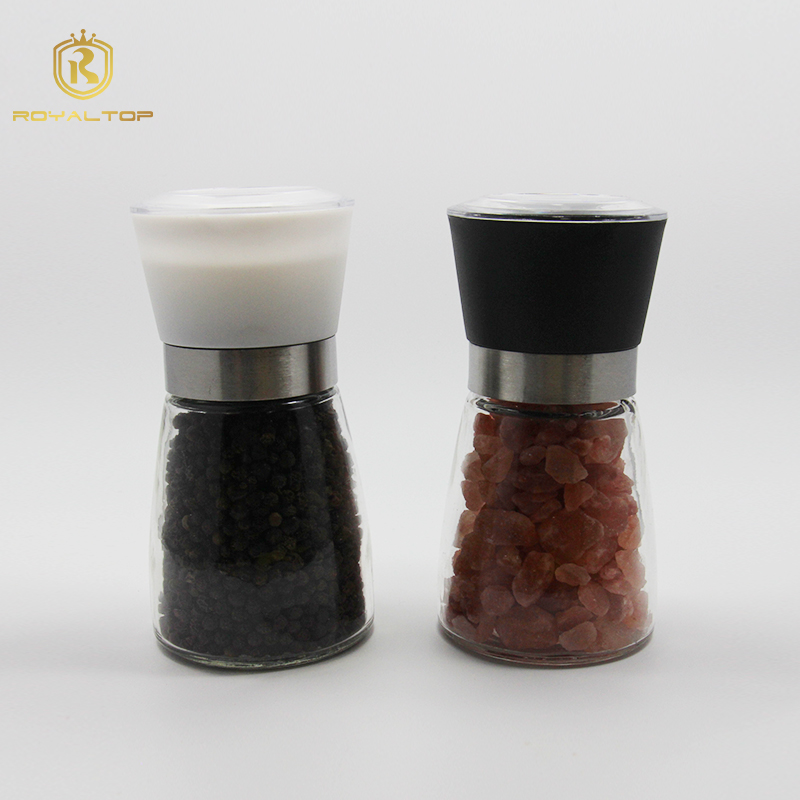 High quality clear glass salt and pepper mill shakers