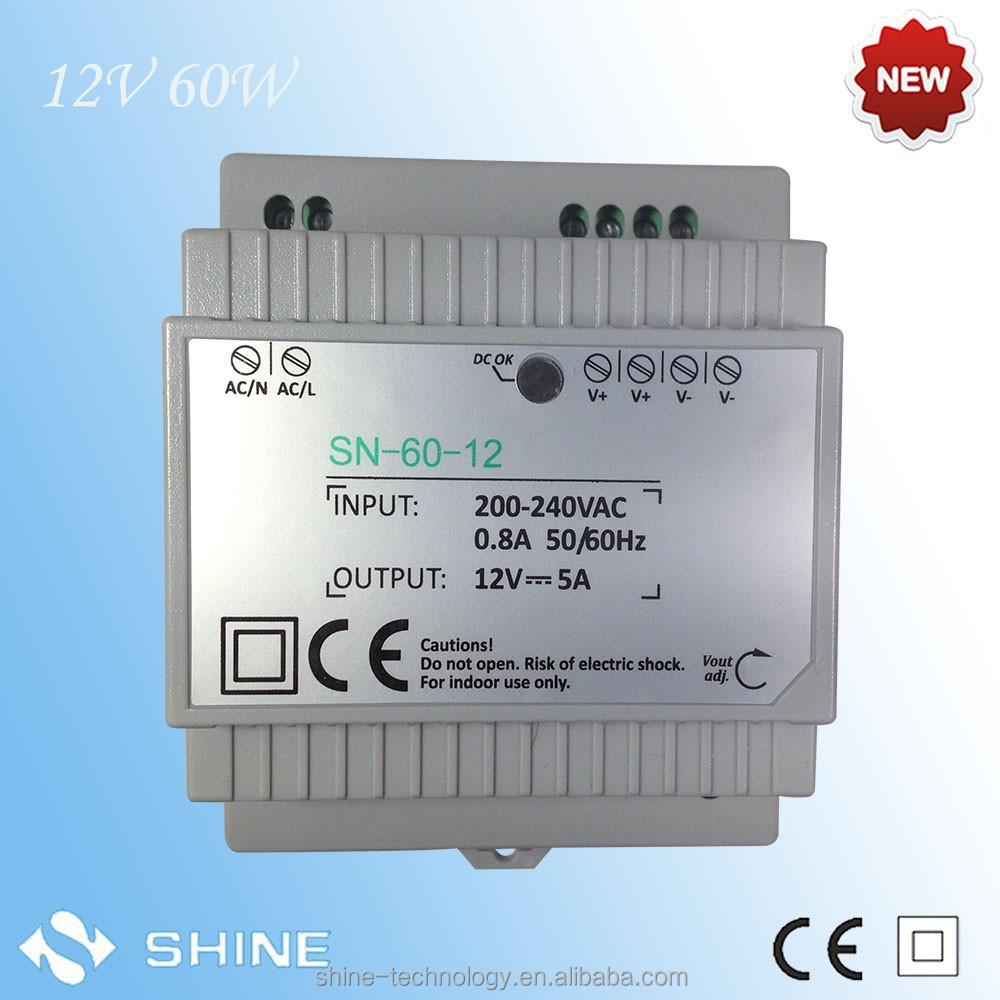 12v 5a 60w constant voltage din rail power supply with ce&rohs, DIN RAIL led drivers output voltage 170v-265V